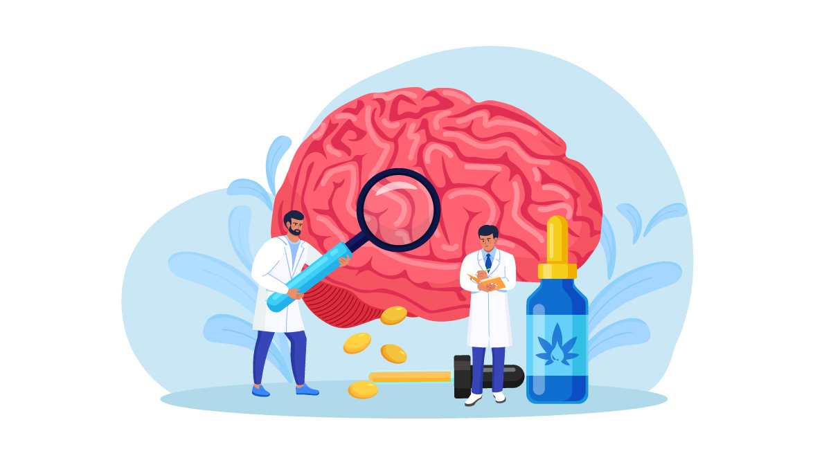 Illustration of scientists looking into a brain