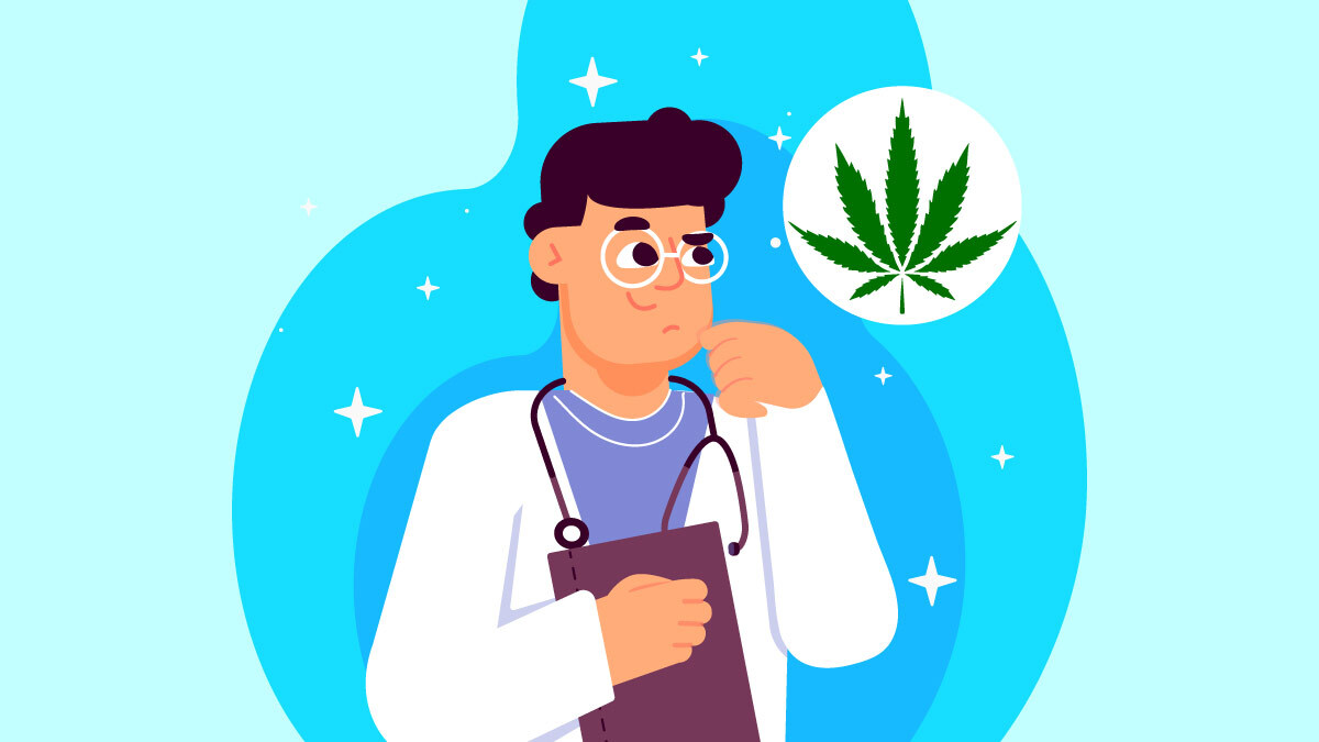Illustration of a scientist and hemp leaf
