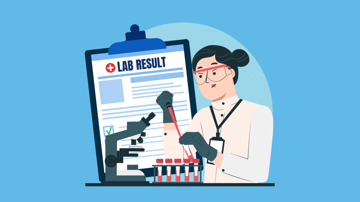 Illustration of a scientist testing CBD oil and a lab result