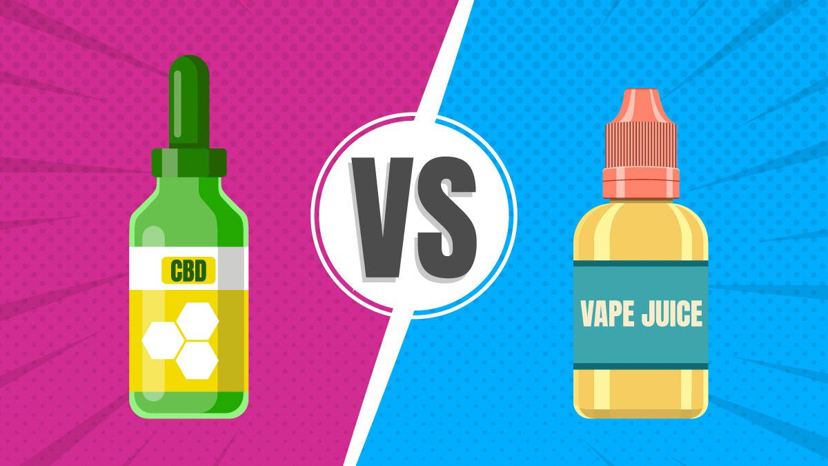 Illustration of CBD oil bottle and vape juice bottle