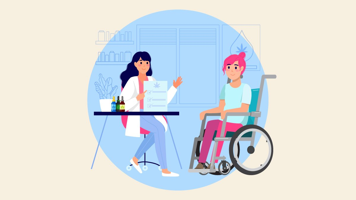 an illustration of a doctor consulting a patient with cerebral palsy sitting on a wheel chair