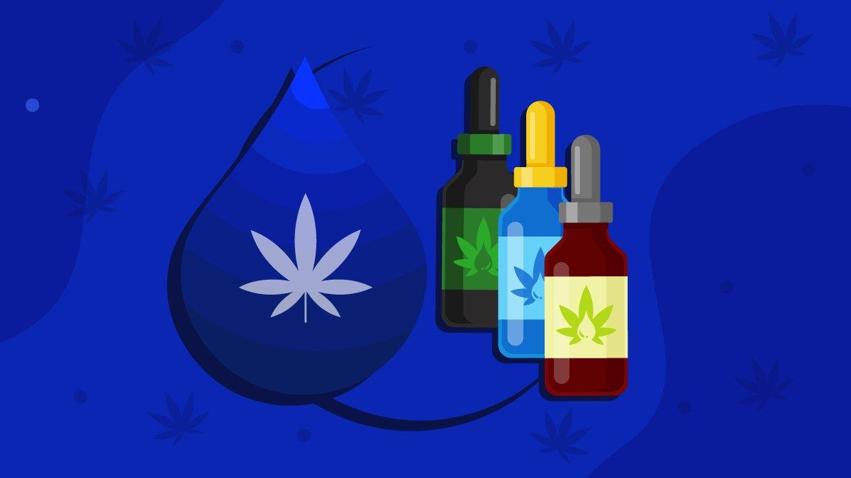 an illustration of a CBD oil droplet and bottles of Full Spectrum