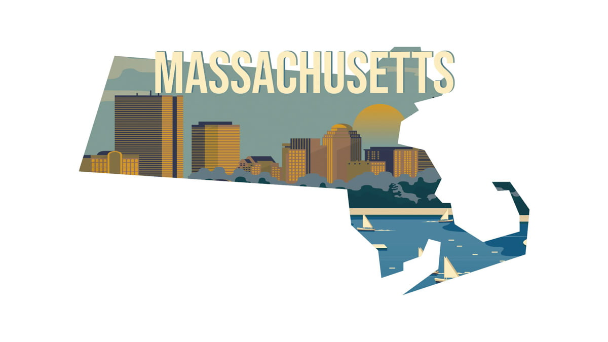 Illustration of Massachusetts State map