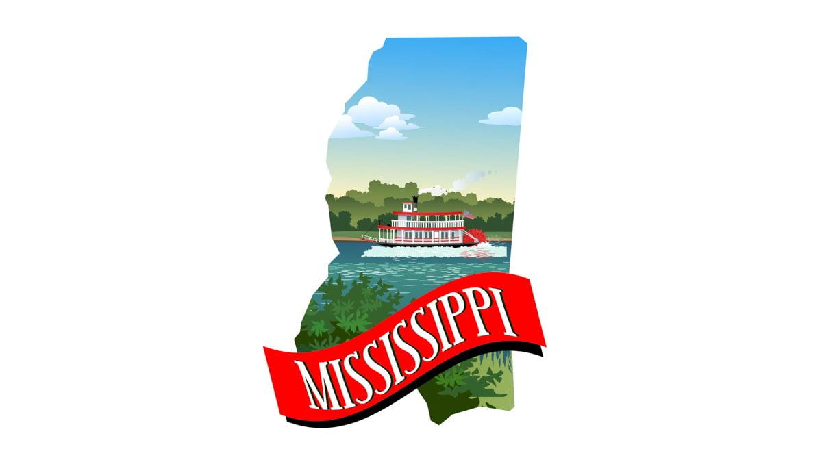 Illustration of Mississippi State Map