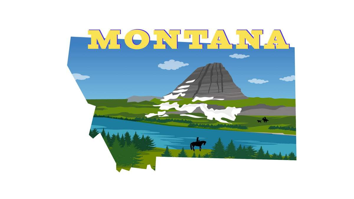 Illustration of Montana State Map
