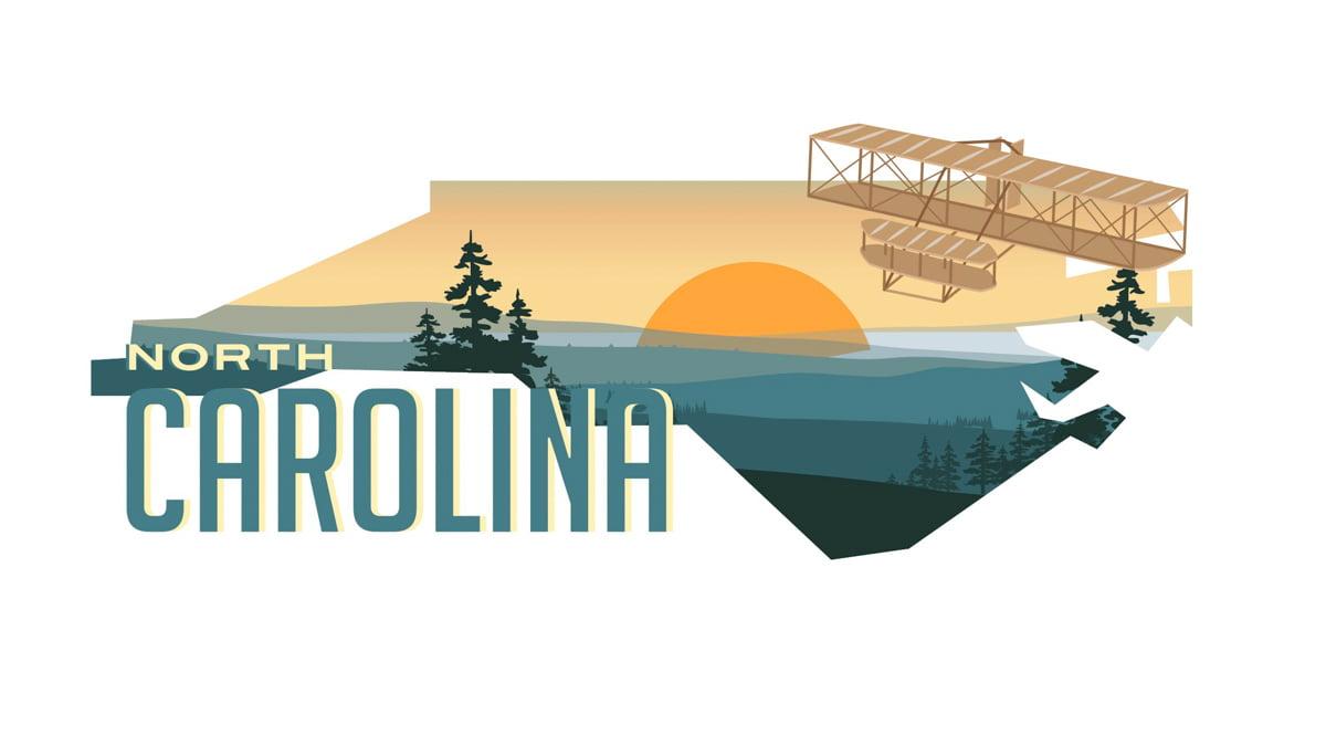 Illustration of North Carolina state map