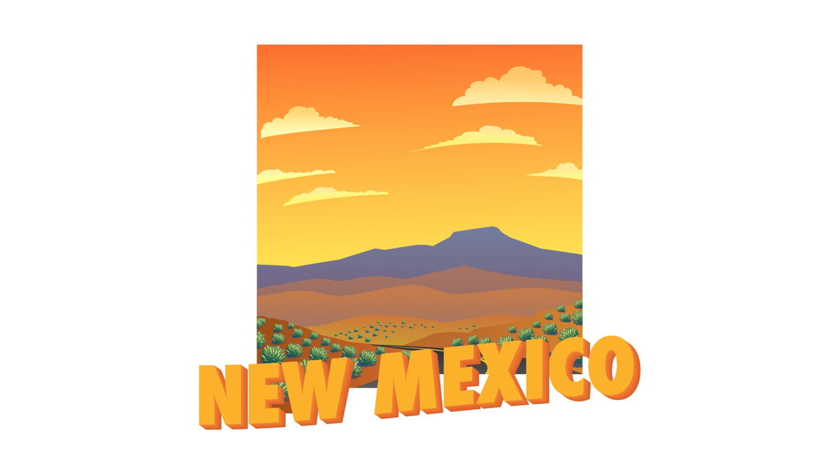 Illustration of New Mexico state map