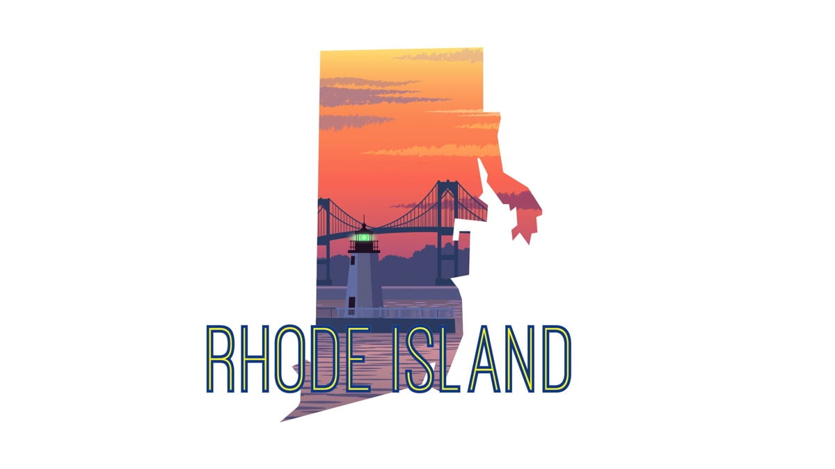 Illustration of Rhode Island State Map