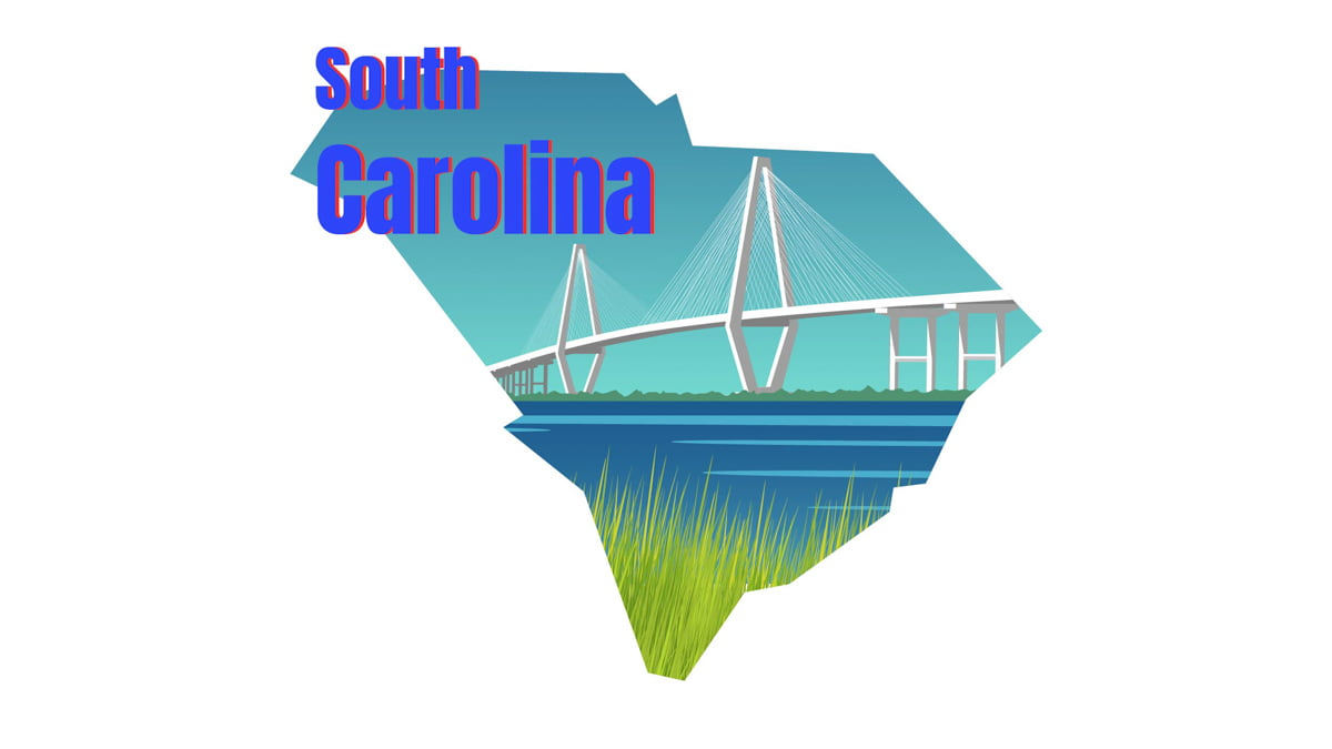 Illustration of South Carolina State Map