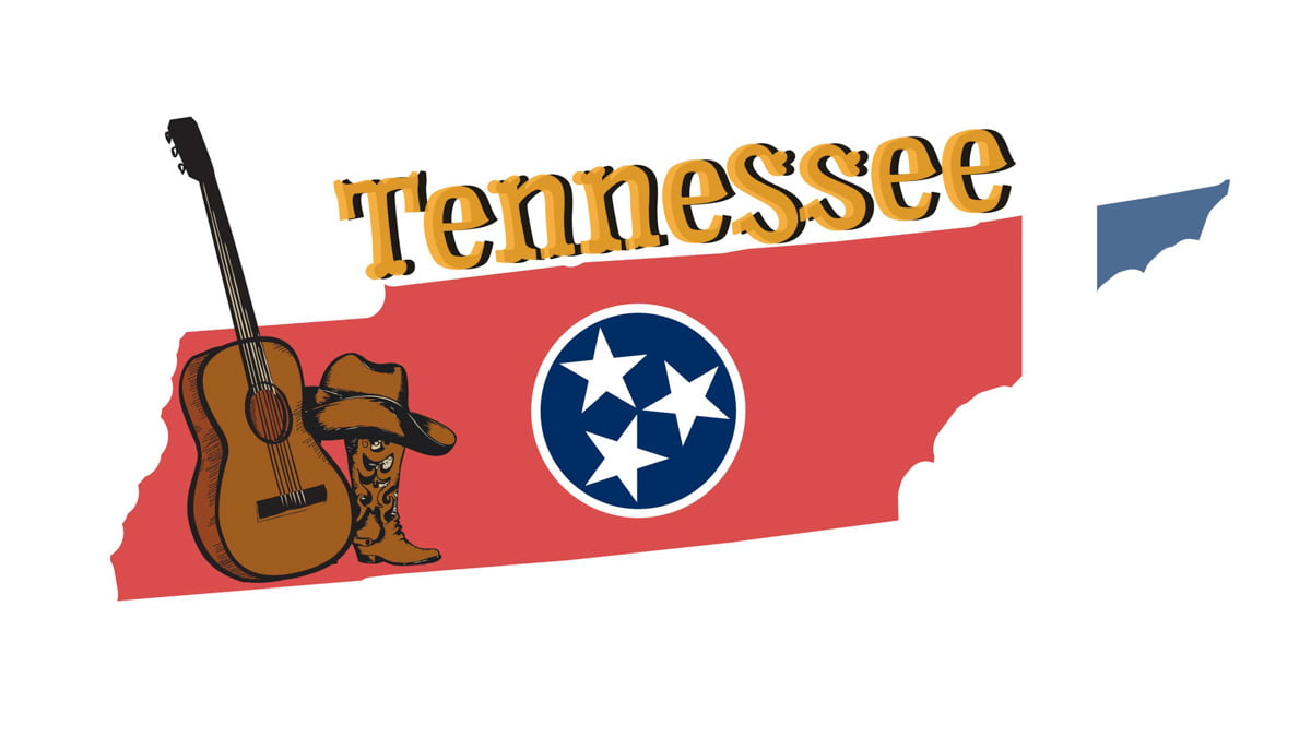 Illustration of Tennessee State Map