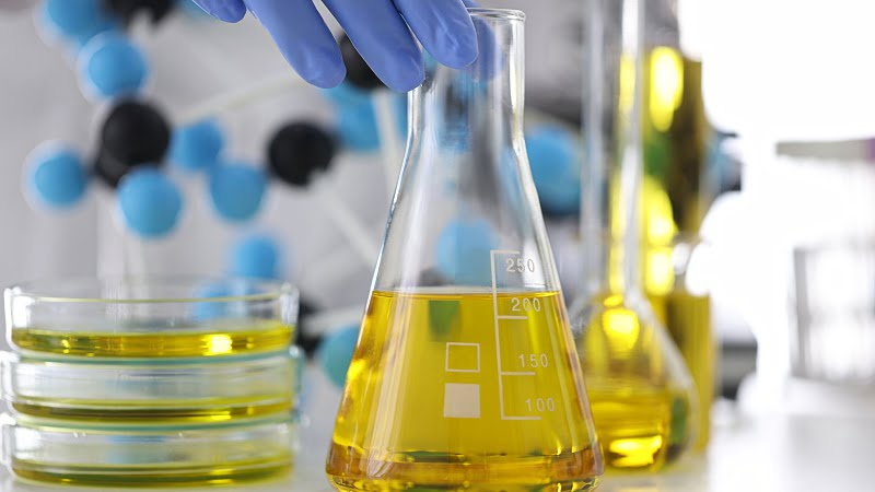 close-up image of a hand with rubber gloves holding a glass flask with CBD oil extracts in chemical laboratory