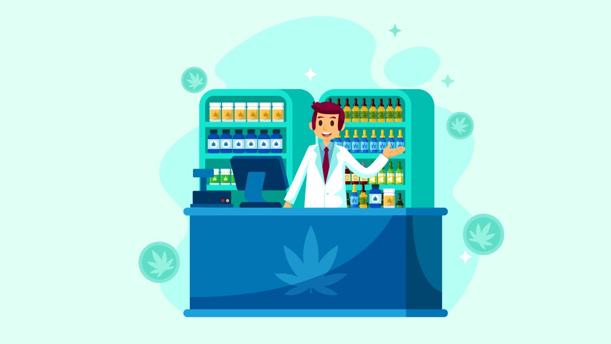 illustration of a man selling CBD products on a shop