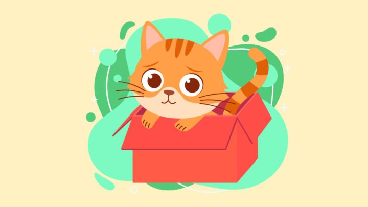 Illustration of a Cat in a Box with Anxiety