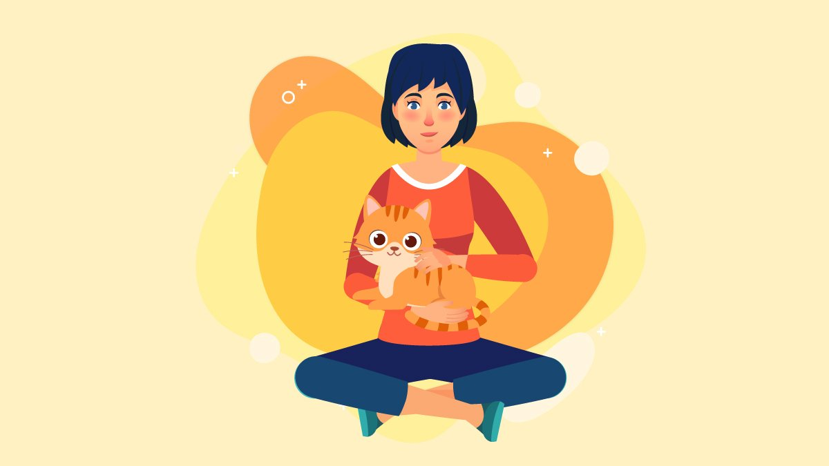 Illustration of a Woman Carrying an Orange Cat With Kidney Disease