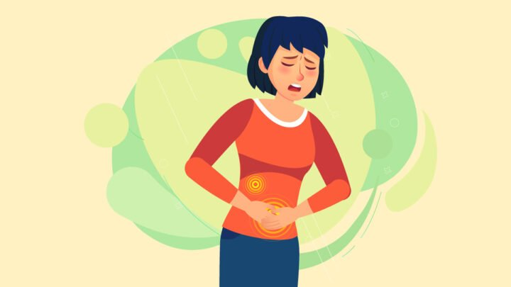 illustration of a woman suffering from irritable bowel syndrome