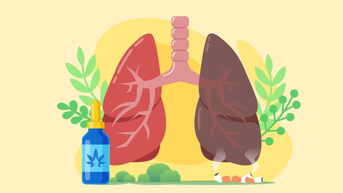 Illustration of Lungs with Cancer in One Side with CBD Oil in Front