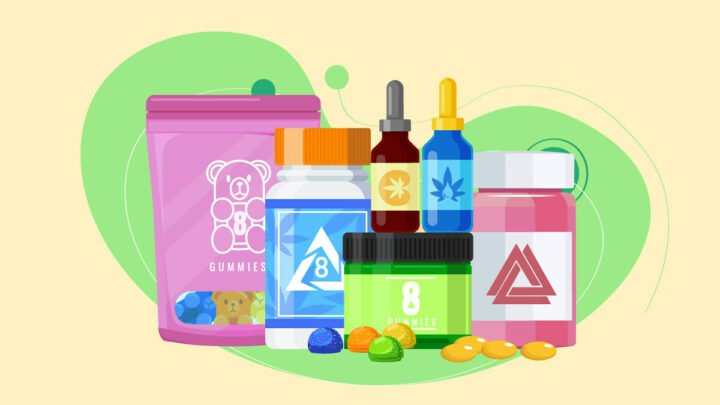 illustration of D8 THC products such as capsules, tinctures, gummies, oil and vape carts