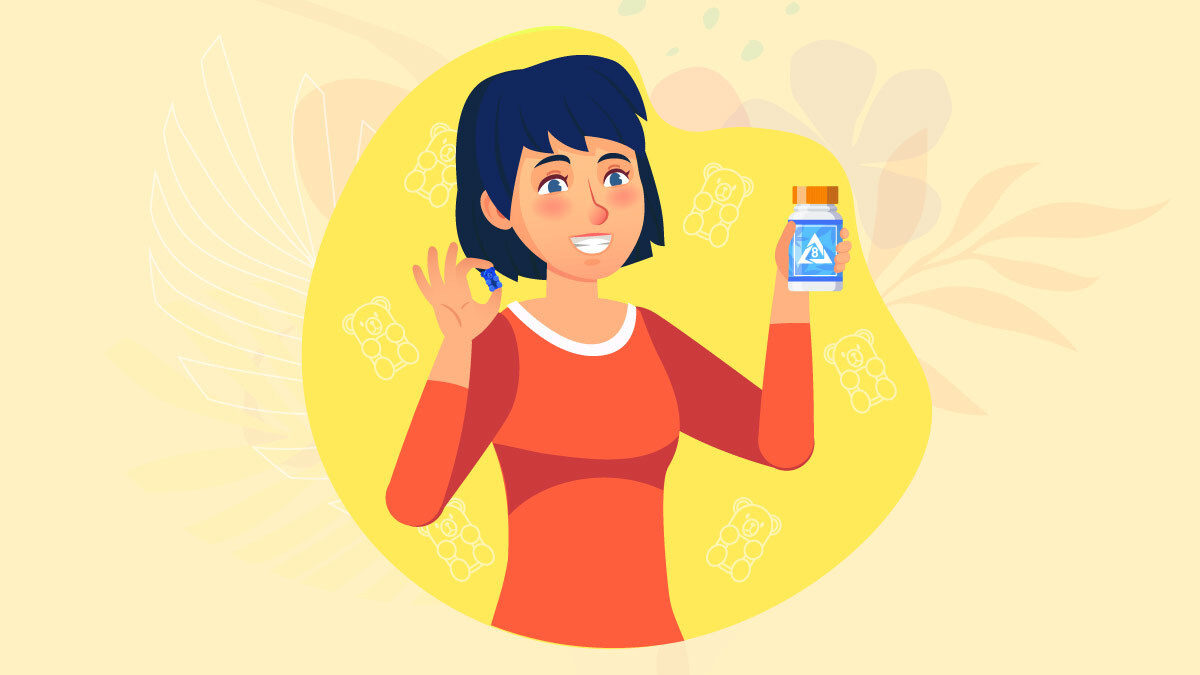 illustration of a woman holding delta 8 gummies