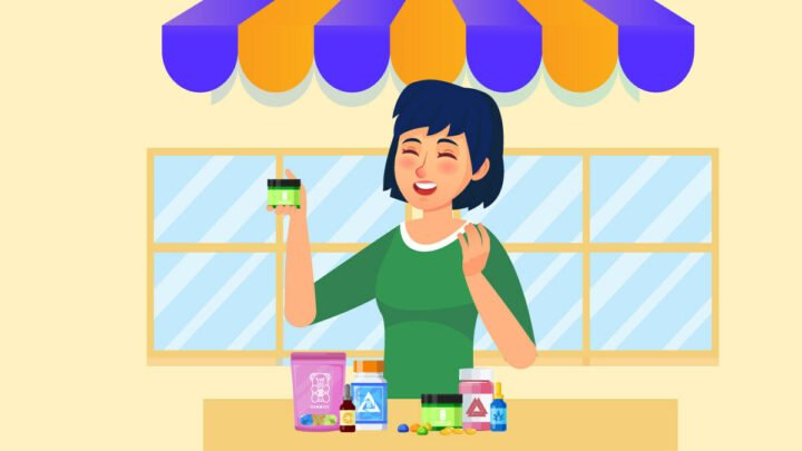 illustration of s woman selling Delta 8 products