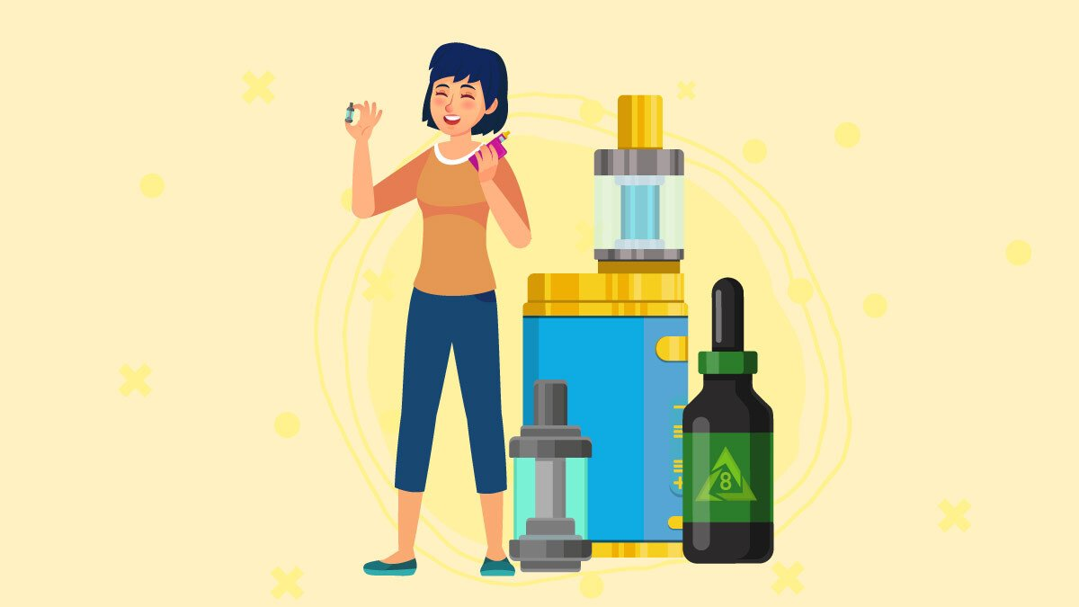 illustration of a big bottle of D8 THC and a vape cart with a woman