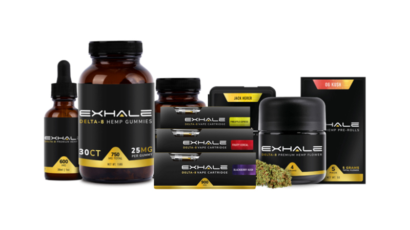 image of Exhale Wellness products with white background