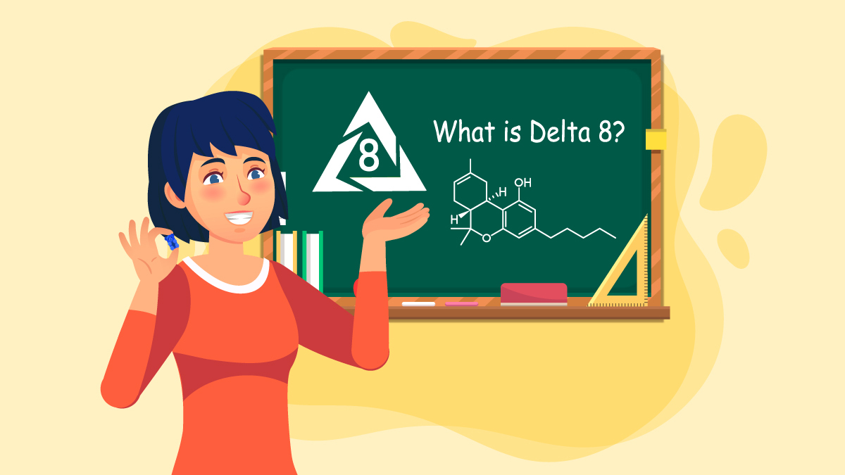 Illustration of a Woman Explaining About Delta 8 THC