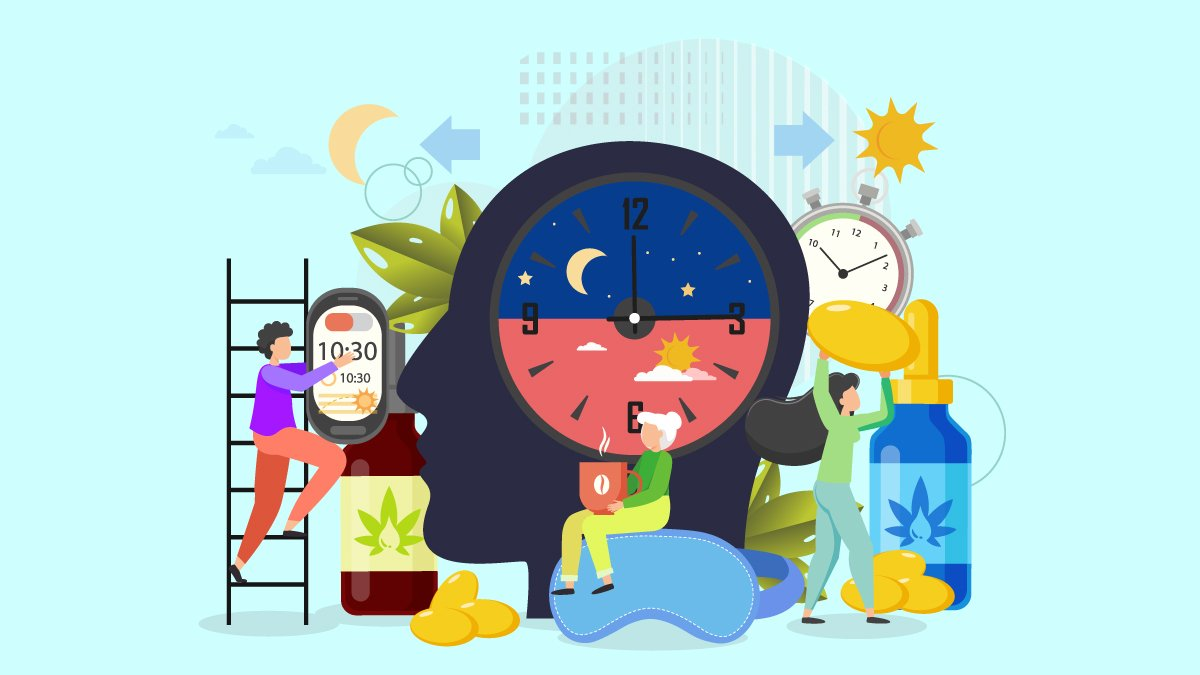 an illustration of a head silhouette with a clock showing day and night time and CBD oil, tincture and capsules and people working