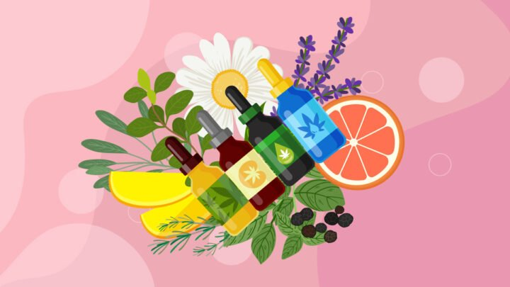 CBD oil in bottles with citrus fruits, flowers and plants