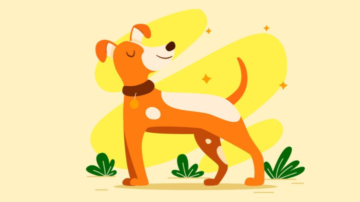 illustration of a smiling dog relieved from anxiety