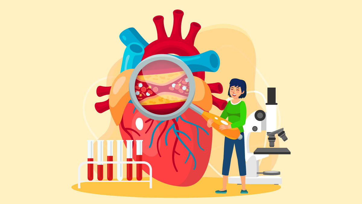 Illustration of a girl with a heart and heart monitoring