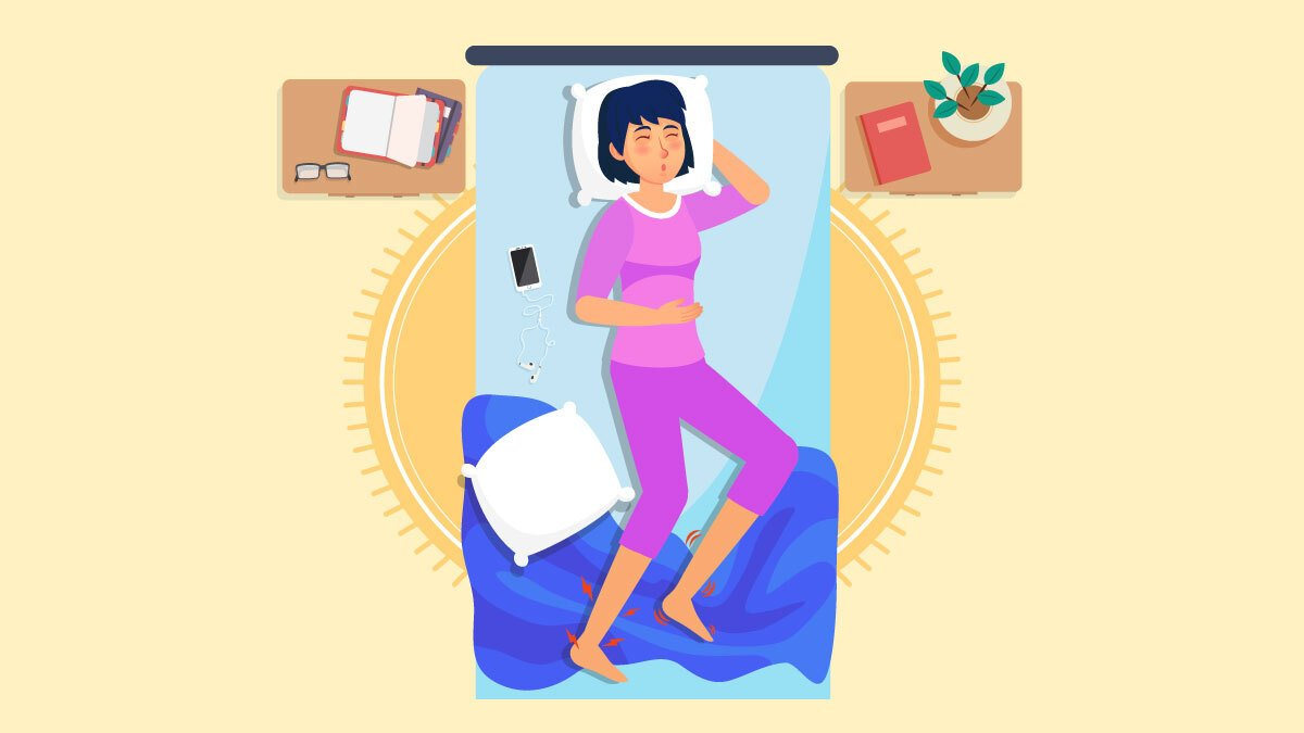 Illustration of a woman laying down on bed