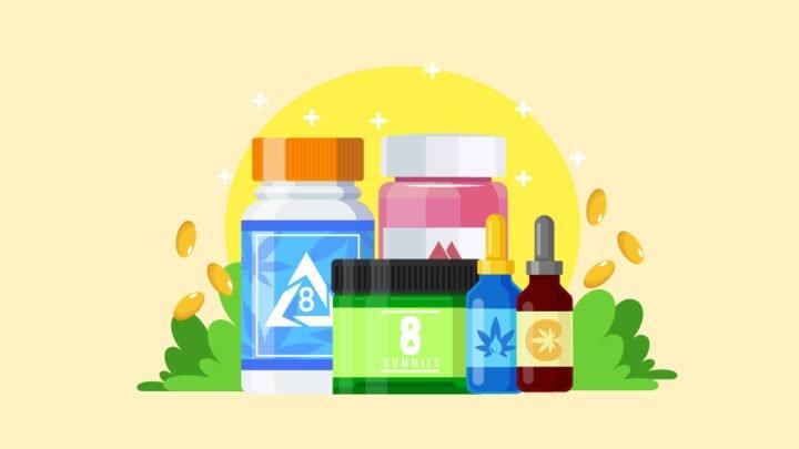 illustration of Delta 8 THC capsules, tinctures, and gummies