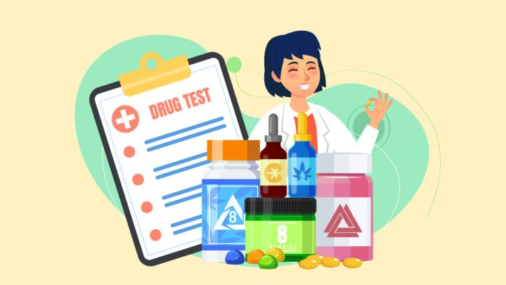 illustration of a doctor and a drug test result with Delta 8 THC products