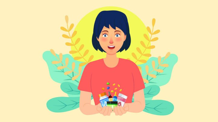 Illustration of a woman holding delta 8 products