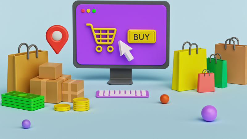 Illustration of Online Store Concept