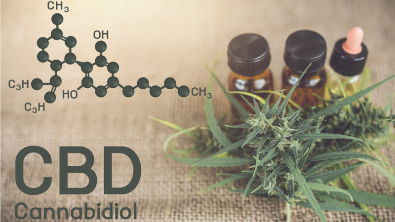 CBD Oil with Hemp Leaves and CBD Chemical Structure